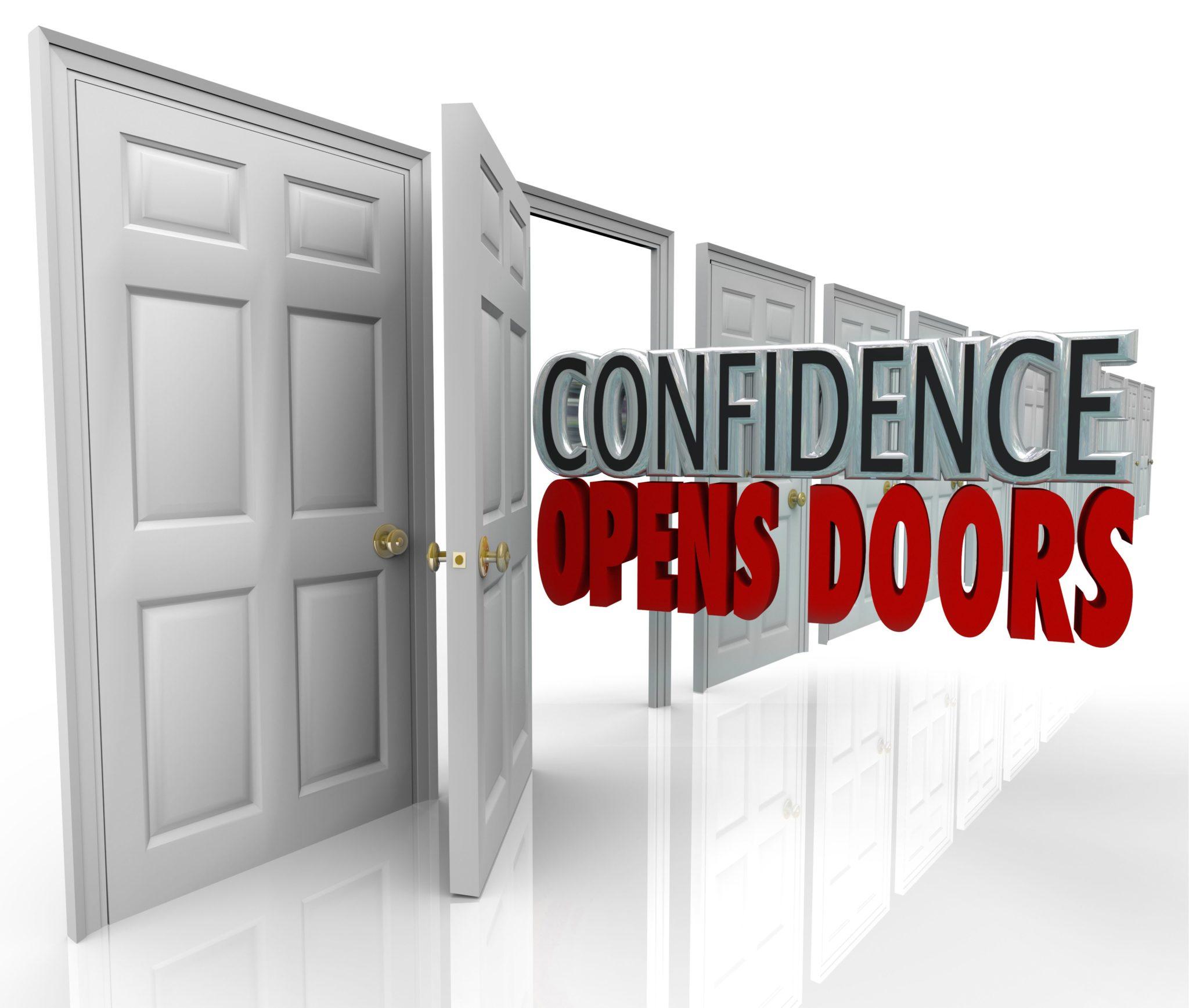 A door opening and the words Confidence Opens Doors illustrating